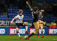Bolton Wanderers' Luca Connell competing with Sheffield Wednesday's Adam Reach <br /> <br /> Photographer Andrew Kearns/CameraSport<br /> <br /> The EFL Sky Bet Championship - Bolton Wanderers v Sheffield Wednesday - Tuesday 12th March 2019 - University of Bolton Stadium - Bolton<br /> <br /> World Copyright © 2019 CameraSport. All rights reserved. 43 Linden Ave. Countesthorpe. Leicester. England. LE8 5PG - Tel: +44 (0) 116 277 4147 - admin@camerasport.com - www.camerasport.com