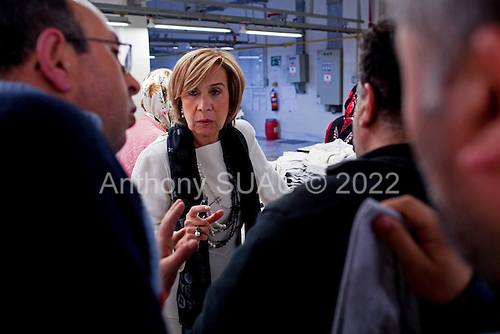 Istanbul, Turkey<br /> March 10, 2011<br /> <br /> Aynur Bektas, the CEO, of Hey Tekstil tours the plant in Istanbul, one of nine textile plants she has throughout Turkey. Founded in 1992 as a small family business, Hey is the leading knitwear manufacturing company in Turkey.<br /> <br /> It is the source of knitwear for the country's biggest retail chains and employs more than 4,000 people. Hey Group companies operate in four areas: textile, tourism, foreign trade and IT. The expansion of the group's companies and rising employment make its story unique. It is also an inspiring example for women entrepreneurship in Turkey.