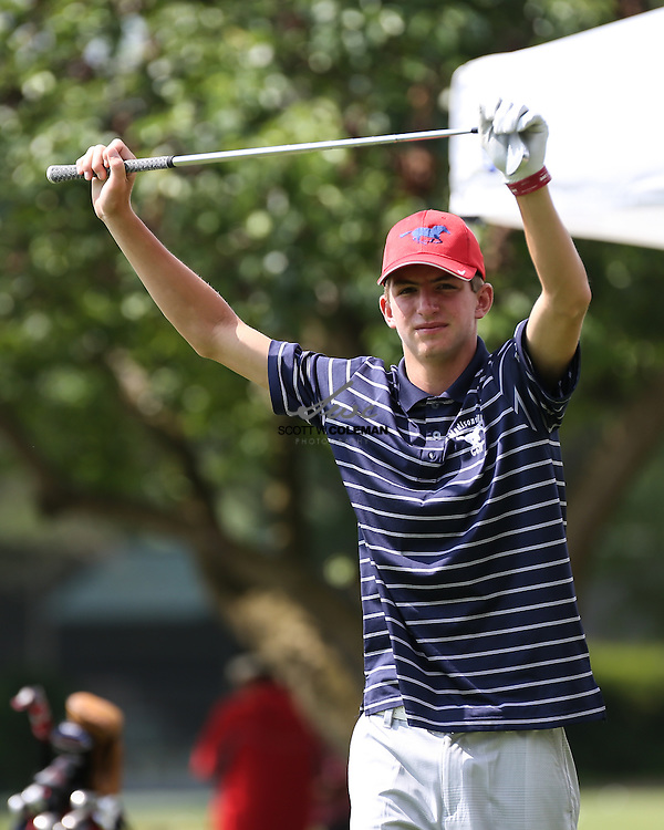 Sam Bennett of Madisonville High School prepares to tee off to start his second round at the UIL Class 2A state golf tournament at Onion Creek Golf Club in Austin on Tuesday, April 26, 2016.
