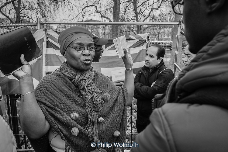 Christian woman preacher, Speakers Corner, Hyde Park, London.