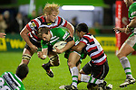 Jamie Chipman and Reynold Lee-Lo tackle Hadleigh Parkes. ITM Cup rugby game between Counties Manukau and Manawatu played at Bayer Growers Stadium on Saturday August 21st 2010..Counties Manukau won 35 - 14 after leading 14 - 7 at halftime.