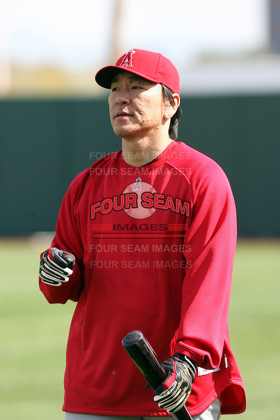 Hideki Matsui. Los Angeles Angels spring training workouts at the Angels complex, Tempe, AZ - 02/24/2010.Photo by:  Bill Mitchell/Four Seam Images.