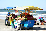 MEXICAN MAN's FRUIT STAND NEAR the BEACH.<br />