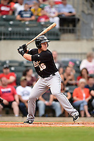 San Antonio Missions first baseman Jason Hagerty (16) at bat during a game against the Arkansas Travelers on May 24, 2014 at Dickey-Stephens Park in Little Rock, Arkansas.  Arkansas defeated San Antonio 4-2.  (Mike Janes/Four Seam Images)