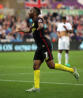 Raheem Sterling of Manchester City celebrates his goal during the Premier League match between Swansea City and Manchester City at The Liberty Stadium in Swansea, Wales, UK. Saturday 24 September 2016