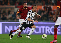 Seydou Keita  and  Roberto Pereyra during the Italian Serie A soccer match between   AS Roma and Juventus FC       at Olympic Stadium      in Rome ,March 02 , 2015