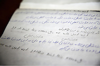 Pictured: Notes of a migrant student Monday 06 February 2017<br /> Re: A school teaching the English language has been operating at the migrant camp located in the former airport in the outskirts of Athens, Greece.