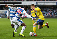 Leeds United's Jack Clarke competing with Queens Park Rangers' Osman Kakay<br /> <br /> Photographer Andrew Kearns/CameraSport<br /> <br /> The Emirates FA Cup Third Round - Queens Park Rangers v Leeds United - Sunday 6th January 2019 - Loftus Road - London<br />  <br /> World Copyright &copy; 2019 CameraSport. All rights reserved. 43 Linden Ave. Countesthorpe. Leicester. England. LE8 5PG - Tel: +44 (0) 116 277 4147 - admin@camerasport.com - www.camerasport.com