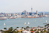 Sailing Boats in Waitemata Harbour, Auckland, North Island, New Zealand. Auckland, situated in the Hauraki Gulf of North Island is the largest and most populated city in New Zealand. With plenty to do within the city, and endless beautiful scenery on the surrounding islands and area just outside Auckland, it is easy to see why it is most people's first stop on a tour of New Zealand.