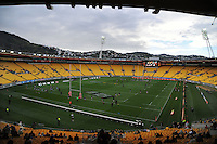 A general view of the stadium as the teams warm up before the ITM Cup rugby union match between Wellington Lions and Southland Stags at Westpac Stadium, Wellington, New Zealand on Sunday, 2 September 2012. Photo: Dave Lintott / lintottphoto.co.nz