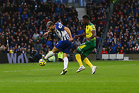 Neal Maupay of Brighton & Hove Albion with a shot on goal in the first half but goes wide during Brighton & Hove Albion vs Norwich City, Premier League Football at the American Express Community Stadium on 2nd November 2019