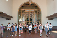 Incoming Occidental College students participate in Oxy Engage with the group LA Icons and tour Union Station near downtown Los Angeles, on Aug. 24, 2016.<br /> Oxy Engage is a pre-orientation program that introduces incoming students to the vibrant city of Los Angeles. Upperclassmen facilitators lead trips to experience culture, film, food, nature, social justice, the urban environment, and much more.<br /> (Photo by Marc Campos, Occidental College Photographer)