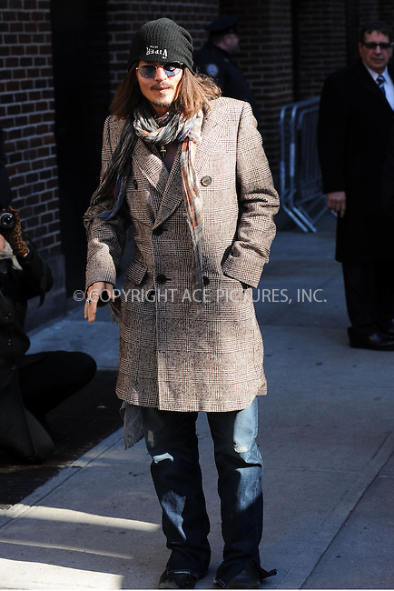 WWW.ACEPIXS.COM . . . . . .February 21, 2013...New York City....Johnny Depp arrives to tape an appearance on the Late Show with David Letterman on February 21, 2012  in New York City....Please byline: KRISTIN CALLAHAN - ACEPIXS.COM.. . . . . . ..Ace Pictures, Inc: ..tel: (212) 243 8787 or (646) 769 0430..e-mail: info@acepixs.com..web: http://www.acepixs.com .