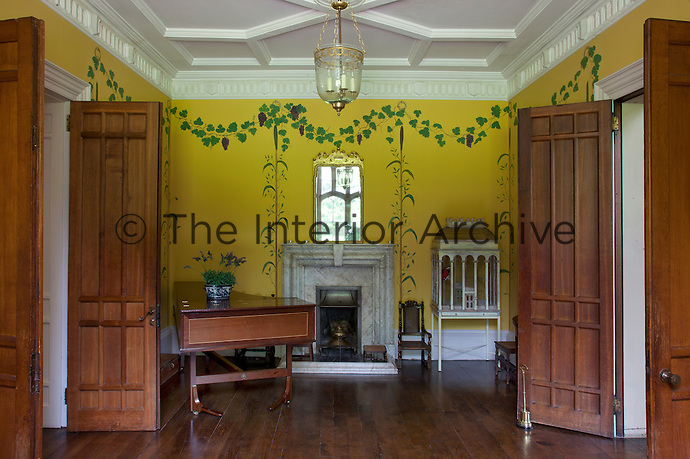 A yellow music room. Quite different from the ancient building, the house was modernised by Anthony Keck in the 1770s then John Nash in the 1790s