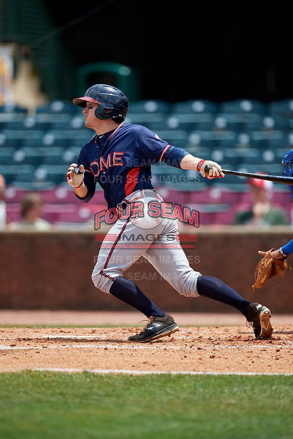 Rome Braves shortstop Riley Delgado (8) follows through on a swing during a game against the Lexington Legends on May 23, 2018 at Whitaker Bank Ballpark in Lexington, Kentucky.  Rome defeated Lexington 4-1.  (Mike Janes/Four Seam Images)