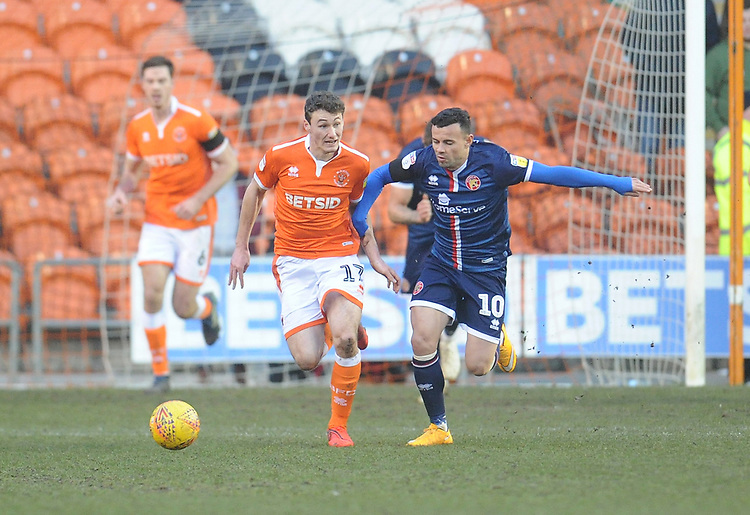Blackpool's Matthew Virtue under pressure from Walsall's Zeli Ismail<br /> <br /> Photographer Kevin Barnes/CameraSport<br /> <br /> The EFL Sky Bet League One - Blackpool v Walsall - Saturday 9th February 2019 - Bloomfield Road - Blackpool<br /> <br /> World Copyright &copy; 2019 CameraSport. All rights reserved. 43 Linden Ave. Countesthorpe. Leicester. England. LE8 5PG - Tel: +44 (0) 116 277 4147 - admin@camerasport.com - www.camerasport.com