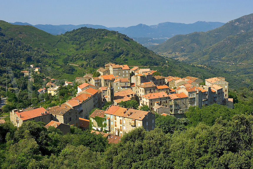 Corsica. Medieval village of Sainte Lucie de Tallano in the Rizzanese Valley. Alta Rocca. France.
