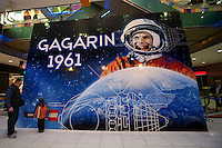 Visitors look at world record breaker mosaic image of Russian astronaut Yuri Gagarin in Budapest, Hungary on March 27, 2011..The 30 square meters large mosaic image is made up from 470 016 Lego pieces and was built to celebrate the 50th anniversary of the first space flight. The national record is alredy validated and the international Guinness Record validation is in progress. ATTILA VOLGYI