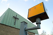 Speed camera outside a church on the North Circular Road in north London.