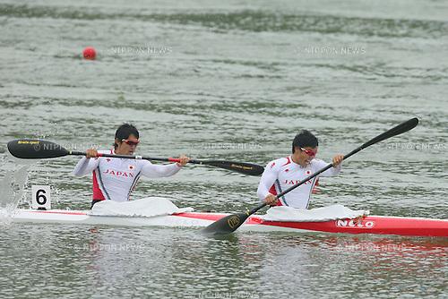 Keiji Mizumoto &amp; Yasuhiro Suzuki (JPN), <br /> SEPTEMBER 29, 2014 - Canoe Sprint : <br /> Men's Kayak Double 1000m Final <br /> at Hanam Misari Canoe/Kayak Center <br /> during the 2014 Incheon Asian Games in Incheon, South Korea. <br /> (Photo by YUTAKA/AFLO SPORT)