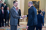 King Felipe VI of Spain and Alberto Herreros during the audience to the champion  of the 80th edition of the cup of your R.M. The King, Real Madrid Basketball at Zarzuela Palace in Madrid. February 25, 2016 (ALTERPHOTOS/BorjaB.Hojas)