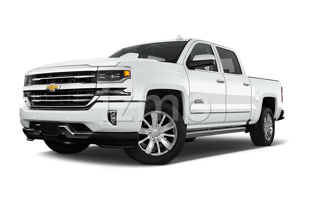 Stock pictures of low aggressive front three quarter view of 2017 Chevrolet Silverado-1500 High-Country-Crew 4 Door Pickup Low Aggressive