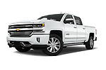 Stock pictures of low aggressive front three quarter view of 2018 Chevrolet Silverado-1500 High-Country-Crew 4 Door Pickup Low Aggressive