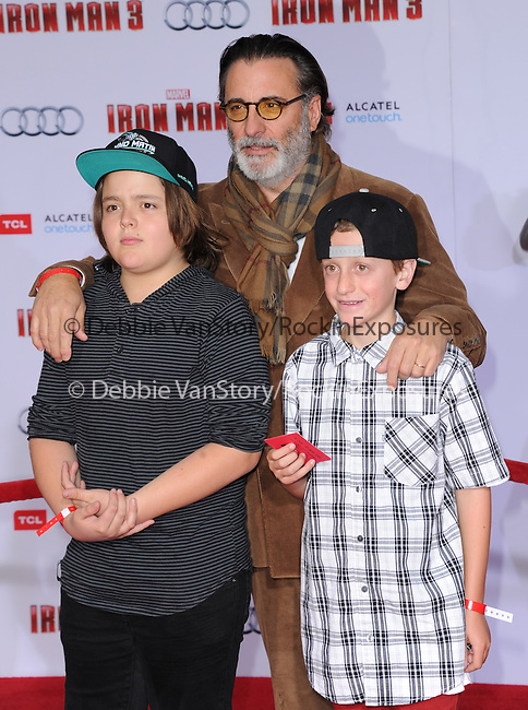 Andy Garcia and kids at The World Premiere of Marvel's Iron Man 3 held at The El CapitanTheatre in Hollywood, California on April 24,2013                                                                   Copyright 2013 Hollywood Press Agency