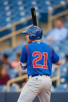 South Bend Cubs third baseman Austin Filiere (21) on deck during the first game of a doubleheader against the Lake County Captains on May 16, 2018 at Classic Park in Eastlake, Ohio.  South Bend defeated Lake County 6-4 in twelve innings.  (Mike Janes/Four Seam Images)
