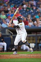 Akron RubberDucks first baseman Nellie Rodriguez (25) at bat during a game against the Richmond Flying Squirrels on July 26, 2016 at Canal Park in Akron, Ohio .  Richmond defeated Akron 10-4.  (Mike Janes/Four Seam Images)