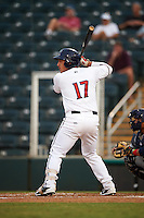 Fort Myers Miracle designated hitter Alex Real (17) at bat during a game against the Brevard County Manatees on April 13, 2016 at Hammond Stadium in Fort Myers, Florida.  Fort Myers defeated Brevard County 3-0.  (Mike Janes/Four Seam Images)