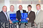 Kerry Schoolboy's make a presentation to Patrick O'Donoghue and Cathal Walsh at the Kerry Schoolboy's awards night in the Gleneagle Hotel Killarney Friday evening l-r: Tom Tobin, Cathal Walsh, Noel White, Patrick O'Donoghue and John O'Rourke.   Copyright Kerry's Eye 2008