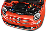 Car Stock 2016 Fiat 500-C Lounge 2 Door Convertible Engine  high angle detail view