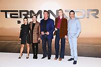 "Natalia Reyes, Linda Hamilton, Arnold Schwarzenegger, Mackenzie Davis and Gabriel Luna<br /> at the ""Terminator: Dark Fate"" photocall, London.<br /> <br /> ©Ash Knotek  D3529 17/10/2019"