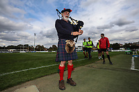 The London Scottish Piper welcomes the teams onto the pitch during the Greene King IPA Championship match between London Scottish Football Club and Ealing Trailfinders at Richmond Athletic Ground, Richmond, United Kingdom on 8 September 2018. Photo by David Horn.