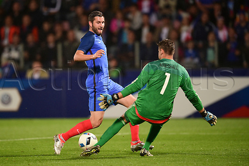04.06.2016. Stade Saint Symphorien, Metz, France. International football freindly,France versus Scotland.  Andre Pierre Gignac (France) attacks keeper David Marshall (sco)