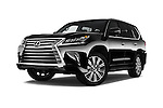 Stock pictures of low aggressive front three quarter view of 2018 Lexus LX 570 5 Door SUV Low Aggressive