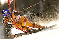 Jean Pierre Roy CAN getting caught up in a gate whilst competing in the Giant Slalom race at Adelboden Switzerland, part of the Audi FIS Alpine Ski World Cup January 2008