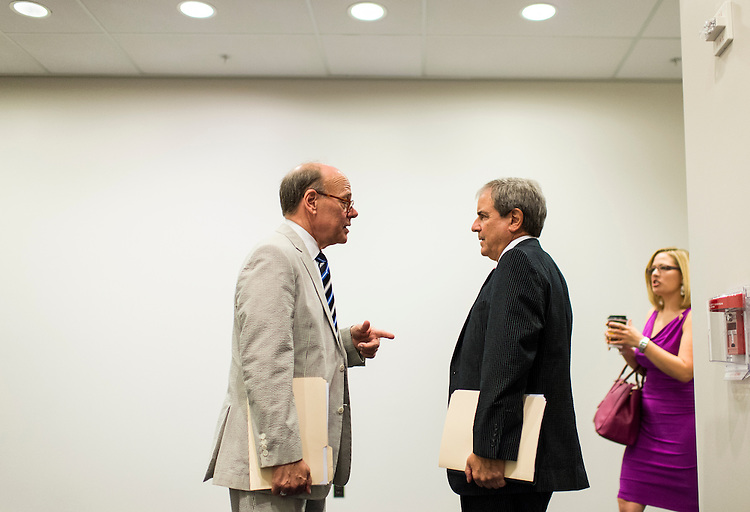 UNITED STATES - JULY 17: Rep. Steve Cohen, D-Tenn., left, and Rep. John Yarmuth, D-Ky., talk as they leave the House Democrats' caucus meeting in the Capitol Visitor Center on Wednesday, July 17, 2013. (Photo By Bill Clark/CQ Roll Call)