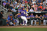 OMAHA, NE - JUNE 26: Antoine Duplantis (20) of Louisiana State University hits a solo home run against the University of Florida during the Division I Men's Baseball Championship held at TD Ameritrade Park on June 26, 2017 in Omaha, Nebraska. The University of Florida defeated Louisiana State University 4-3 in game one of the best of three series. (Photo by Jamie Schwaberow/NCAA Photos via Getty Images)