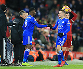 30th January 2019, Anfield, Liverpool, England; EPL Premier League football, Liverpool versus Leicester City; substitute Kelechi Iheanacho of Leicester City replaces Jamie Vardy of Leicester City