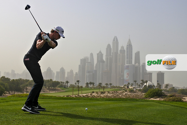 Thomas Pieters (BEL) on the 8th tee during Round 1 of the Omega Dubai Desert Classic, Emirates Golf Club, Dubai,  United Arab Emirates. 24/01/2019<br /> Picture: Golffile | Thos Caffrey<br /> <br /> <br /> All photo usage must carry mandatory copyright credit (&copy; Golffile | Thos Caffrey)