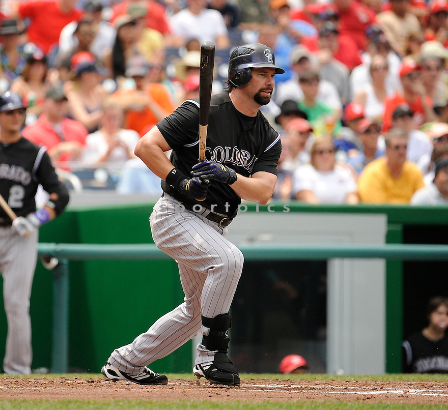 TODD HELTON, of the Colorado Rockies, in action during the Rockies game against the Washington Nationals on July 10,2011 at Nationals Park in Washington, D.C. The Nationals beat the Rockies 2-0.