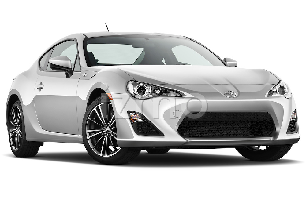 Low aggressive passenger side front three quarter view of a 2013 Scion FRS