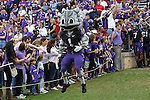 TCU Horned Frogs mascot, Superfrog, in action before the game between the Oklahoma Sooners and the TCU Horned Frogs  at the Amon G. Carter Stadium in Fort Worth, Texas. OU defeats TCU 24 to 17.