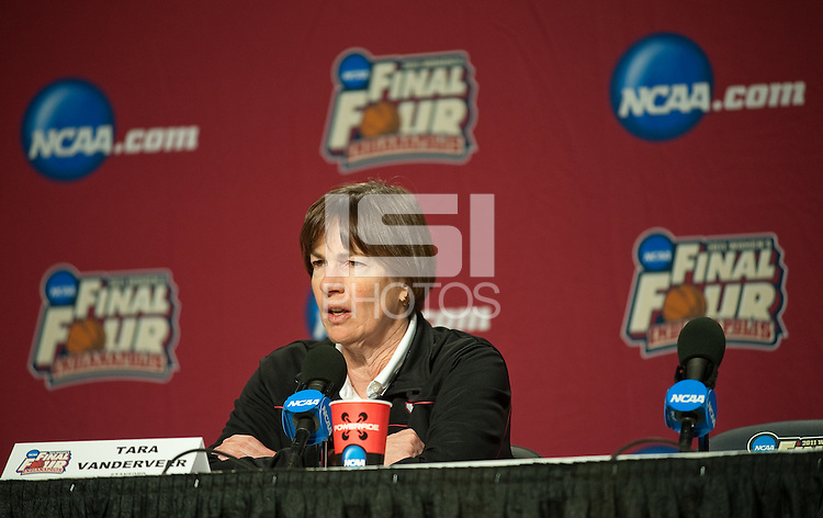 INDIANAPOLIS, IN - APRIL 2, 2011: Head Coach Tara VanDerveer answers questions during a press conference at the NCAA Final Four in Indianapolis, IN on April 1, 2011.