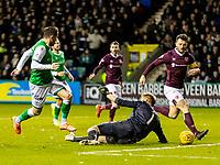 3rd March 2020; Easter Road, Edinburgh, Scotland; Scottish Premiership Football, Hibernian versus Heart of Midlothian; Zdenek Zlamal of Hearts makes save from Marc McNulty of Hibernian