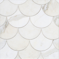 Mermaid Scales, a stone waterjet mosaic, show in polished Calacatta Gold, is part of the Semplice™ collection for New Ravenna.