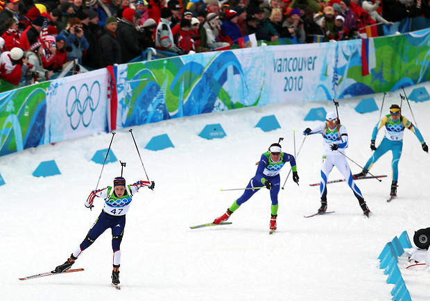 USA's Tim Burke (47) makes the turn to the finish line in the men's 12.5 k pursuit biathlon at the XXI Olympic Winter Games Tuesday, February, 16, 2010 at Whistler Olympic Park in Whistler, British Columbia.