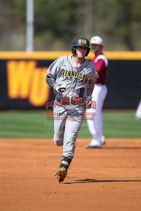 Kal Simmons (10) of the Kennesaw State Owls rounds the bases after hitting a solo home run in the top of the first inning against the Winthrop Eagles at the Winthrop Ballpark on March 15, 2015 in Rock Hill, South Carolina.  The Eagles defeated the Owls 11-4.  (Brian Westerholt/Four Seam Images)